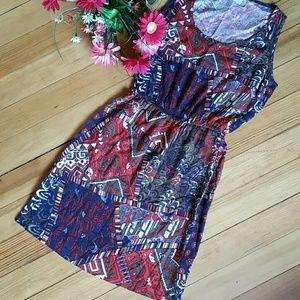 NWOT Lucky Brand Sleeveless Dress in Aztec Print